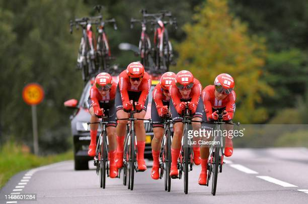 Lucinda Brand of The Netherlands and Team Sunweb / Leah Kirchmann of Canada and Team Sunweb / Floortje Mackaij of The Netherlands and Team Sunweb /...