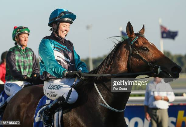 Lucinda Doodt returns to the mounting yard on Elite Tiger after winning Porter Plant Cupat SportsbetBallarat Racecourse on April 12 2017 in Ballarat...