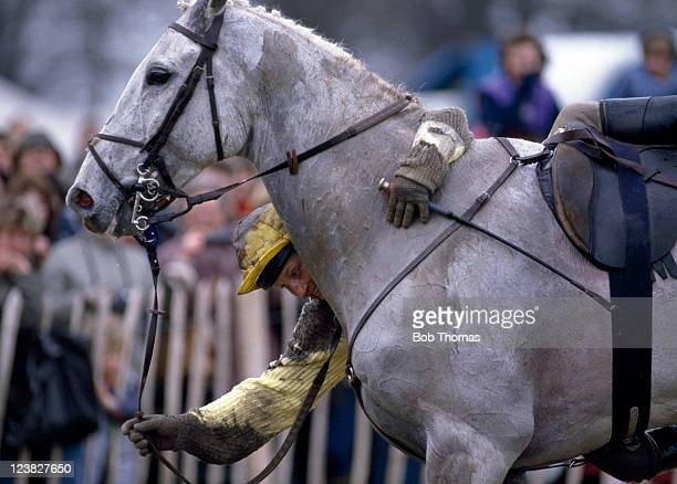 Lucinda Green of Great Britain hangs onto her horse Shannagh during the Badminton Horse Trials circa April 1986
