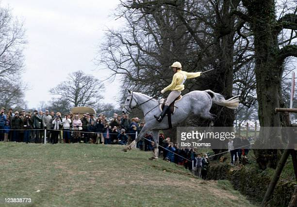 Lucinda Green of Great Britain riding her horse Beagle Bay during the Badminton Horse Trials circa April 1982