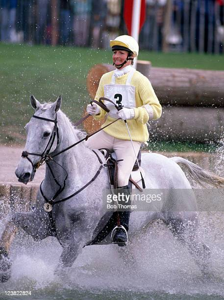 Lucinda Green of Great Britain riding her horse Willy B during the Badminton Horse Trials circa May 1988