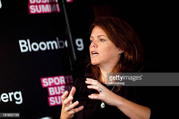 Lucinda K Treat executive vice president of business operations and strategy at Palace Sports Entertainment speaks at the Bloomberg Sports Business...