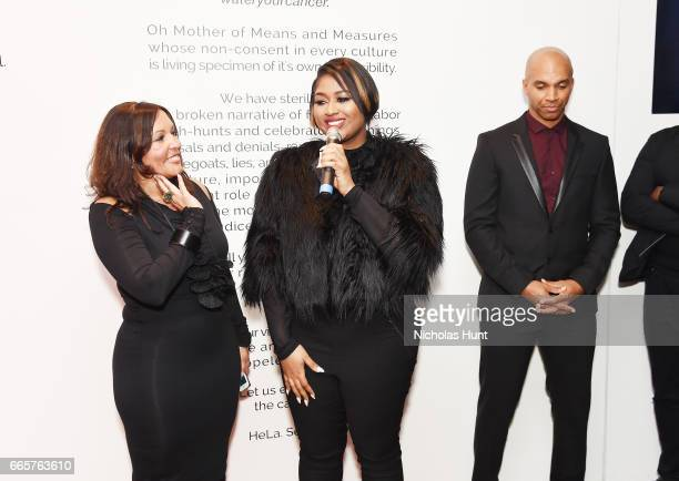 Lucinda Martinez Jazmine Sullivan and Kadir Nelson attends HBO's The HeLa Project Exhibit For The Immortal Life of Henrietta Lacks on April 6 2017 in...