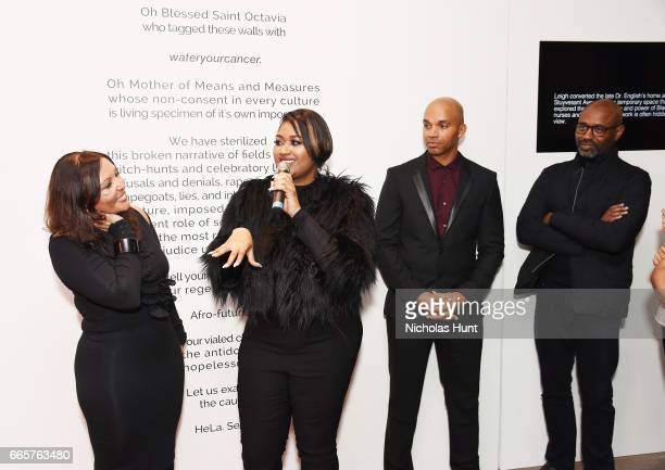 Lucinda Martinez Jazmine Sullivan Kadir Nelson and Lewis Long attend HBO's The HeLa Project Exhibit For The Immortal Life of Henrietta Lacks on April...