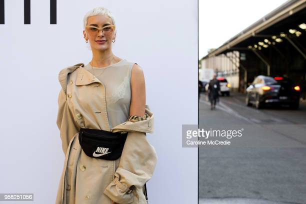 Lucinda Price wearing a vintage Burberry trench coat during MercedesBenz Fashion Week Resort 19 Collections at Carriageworks on May 14 2018 in Sydney...