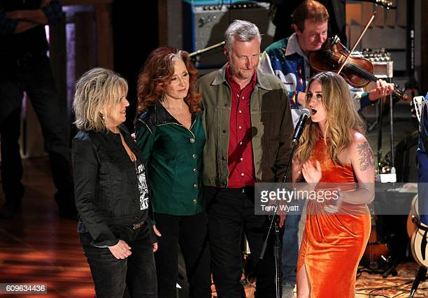 Lucinda Williams Bonnie Raitt Billy Bragg and Margo Price perform onstage at the Americana Honors Awards 2016 at Ryman Auditorium on September 21...