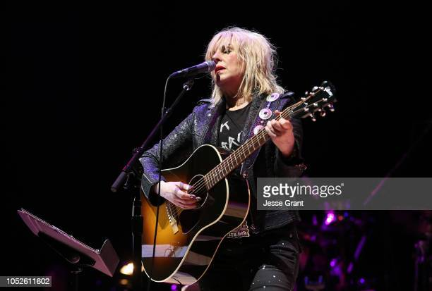 Lucinda Williams performs at 'Across The Great Divide' benefit concert presented by UpperWest Music Group at Ace Theatre Downtown LA on October 19...