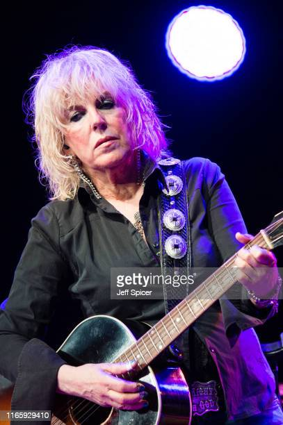Lucinda Williams performs on stage during the Cambridge Folk Festival 2019 at Cherry Hinton Hall on August 03 2019 in Cambridge England