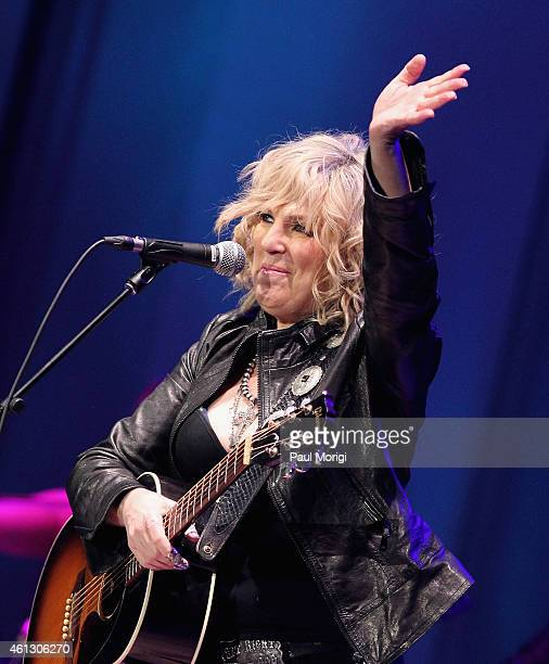 Lucinda Williams performs on stage during The Life Songs of Emmylou Harris An All Star Concert Celebration at DAR Constitution Hall on January 10...