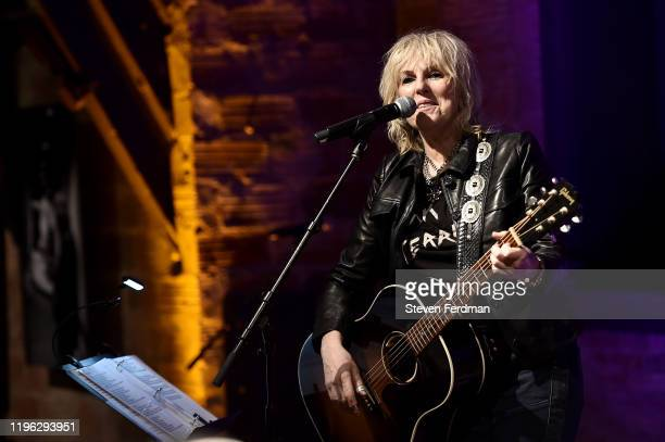 Lucinda Williams performs to celebrate Danny Clinch's Amplifier exhibition at Fotografiska on December 27 2019 in New York City