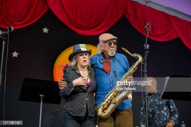 Lucinda Williams performs with Charles Lloyd at the New Orleans Jazz Heritage Festival at the Fair Grounds Race Course in New Orleans Louisiana on...