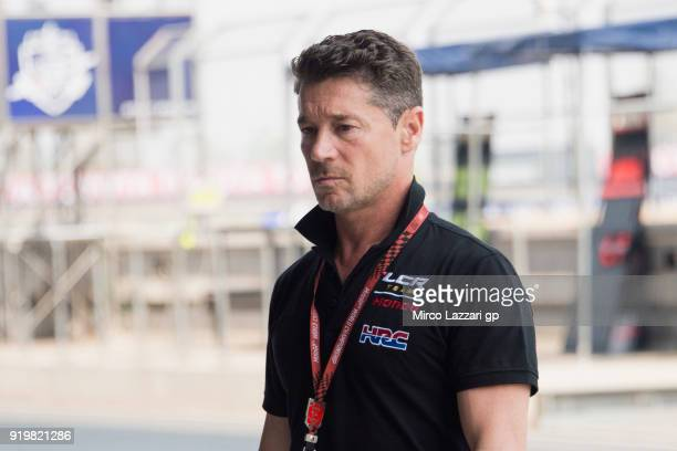 Lucio Cecchinello of Italy and LCR Honda MotoGP looks on in pit during the MotoGP Tests In Thailand on February 18 2018 in Buri Ram Thailand