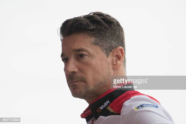 Lucio Cecchinello of Italy and LCR Honda MotoGP looks on in pit during the MotoGp of Argentina Free Practice on April 6 2018 in Rio Hondo Argentina