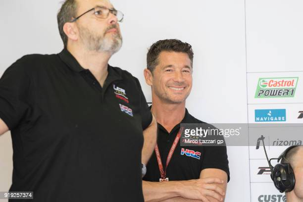 Lucio Cecchinello of Italy and LCR Honda MotoGP smiles in box during the MotoGP Tests In Thailand on February 17 2018 in Buri Ram Thailand