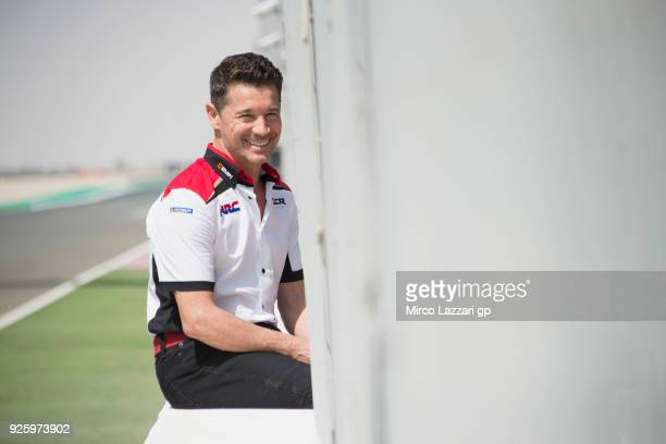 Lucio Cecchinello of Italy and LCR Honda MotoGP smiles in pit wall during the MotoGP Testing Qatar at Losail Circuit on March 1 2018 in Doha Qatar