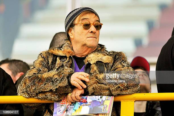 Lucio Dalla looks on during the Serie A match between Bologna FC and Catania Calcio at Stadio Renato Dall'Ara on February 6 2011 in Bologna Italy