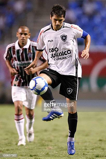 Lucio Flavio of Botafogo controls the ball during a match against Fluminense as part of Brazilian Championship at Engenhao Stadium on October 17 2010...