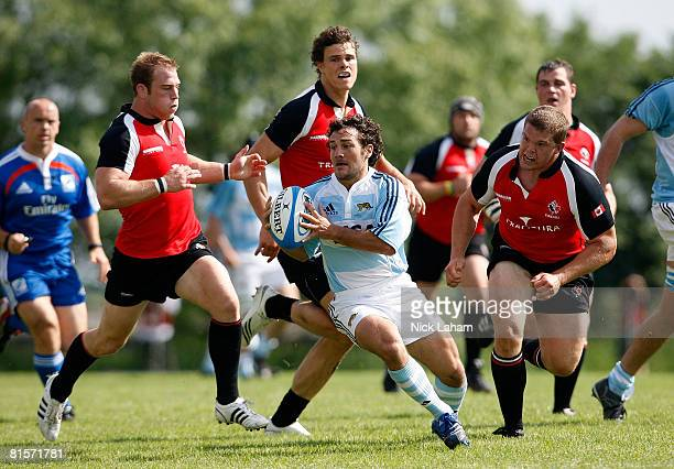 Lucio Lopez Fleming of Argentina A is chased by the Canadian defense during the Barclays Churchill Cup Rugby on June 14, 2008 at Fletchers Fields in...