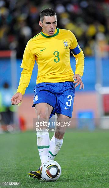 Lucio of Brazil controls the ball during the 2010 FIFA World Cup South Africa Group G match between Brazil and North Korea at Ellis Park Stadium on...