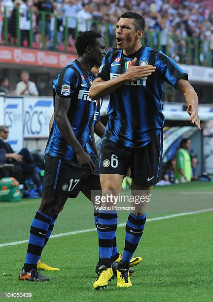 Lucio of FC Internazionale celebrates his goal during the Serie A match between FC Internazionale and Udinese Calcio at Stadio Giuseppe Meazza on...