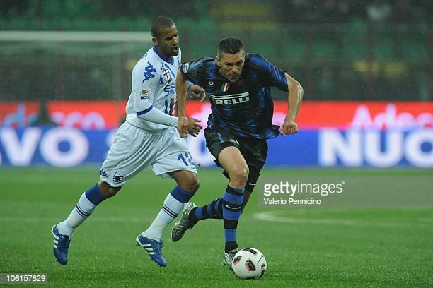 Lucio of FC Internazionale Milano is challenged byFernando Damian Tissone of UC Sampdoria during the Serie A match between FC Internazionale Milano...