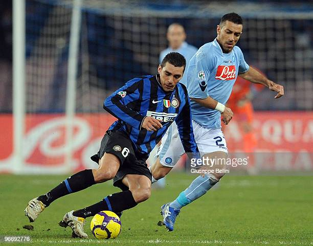 Lucio of Inter and Fabio Quagliarella of Napoliin action during the Serie A match between SSC Napoli and FC Internazionale Milano at Stadio San Paolo...