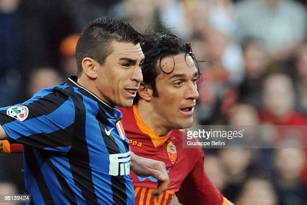 Lucio of Inter and Luca Toni of Roma in actionl during the Serie A match between AS Roma and FC Internazionale Milano at Stadio Olimpico on March 27...