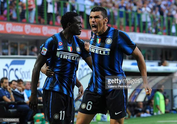 Lucio of Inter celebrates his goal with team mate Wanyama Mariga during the Serie A match between FC Internazionale and Udinese Calcio at Stadio...