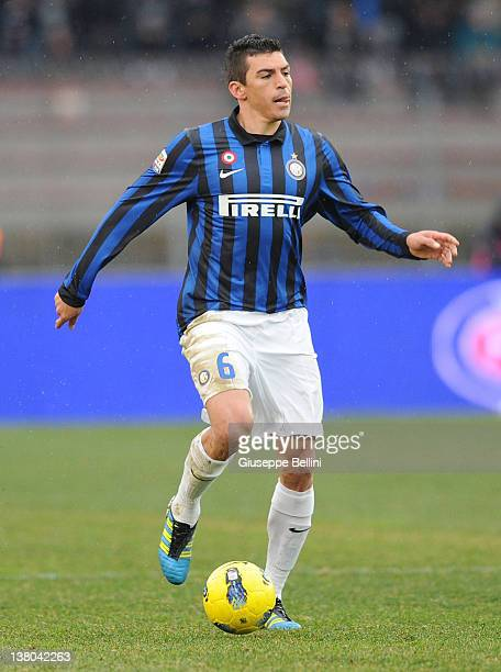 Lucio of Inter in action during the Serie A match between US Lecce and FC Internazionale Milano at Stadio Via del Mare on January 29 2012 in Lecce...