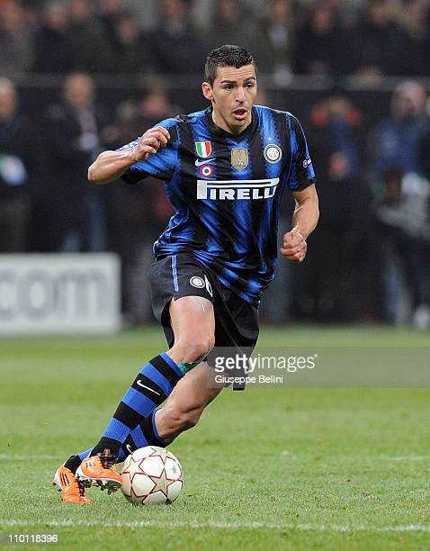 Lucio of Inter in action during the UEFA Champions League round of 16 first leg match between Inter Milan v FC Bayern Muenchen on February 23 2011 in...