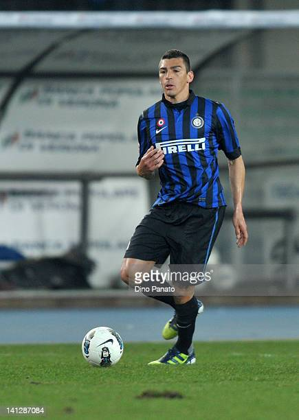 Lucio of Inter Milan runs with the ball during the Serie A match between AC Chievo Verona and FC Internazionale Milano at Stadio Marc'Antonio...