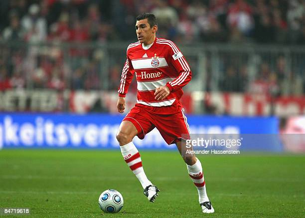 Lucio of Muenchen runs with the ball during the Bundesliga match between FC Bayern Muenchen and Borussia Dortmund at the Allianz Arena on February 8...