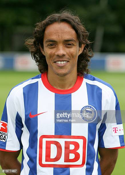 Lucio poses during the Hertha BSC Berlin Team Presentation on July 18 2008 in Berlin Germany