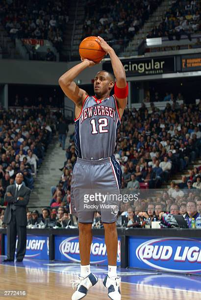 Lucious Harris of the New Jersey Nets shoots against the Sacramento Kings November 30 2003 at Arco Arena in Sacramento California NOTE TO USER User...