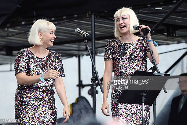 Lucius performs with Mavis Staples during the 2014 Newport Folk Festival at Fort Adams State Park on July 27 2014 in Newport Rhode Island