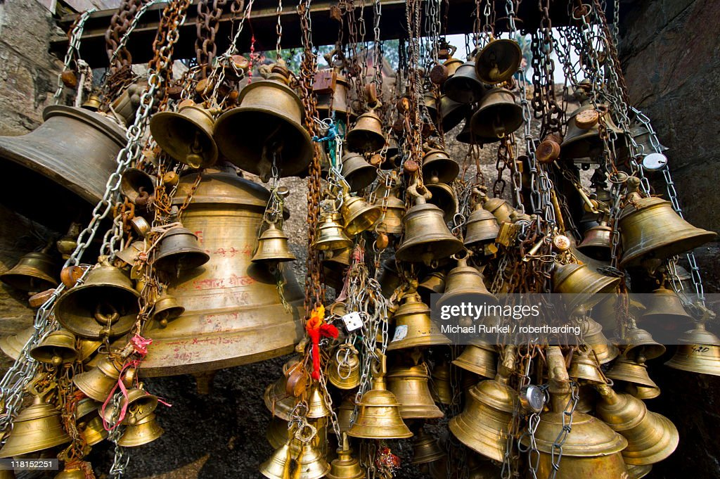 Luck bells for the pilgrims in the Kamakhya Hindu temple, Guwahati, Assam, India, Asia : Stock Photo