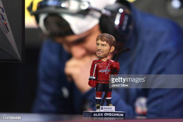 A lucky Alex Ovechkin bobblehead sits on the the desk of Vic Fishercelll25 Ferreira during the 2019 NHL Gaming World Championship US Live Regional...