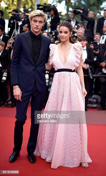 Lucky Blue Smith and Barbara Palvin attend the 'Julieta' premiere during the 69th annual Cannes Film Festival at the Palais des Festivals on May 17...