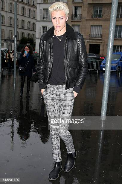 Lucky Blue Smith arrives at the Anthony Vaccarello show as part of the Paris Fashion Week Womenswear Fall/Winter 2016/2017 on March 1 2016 in Paris...