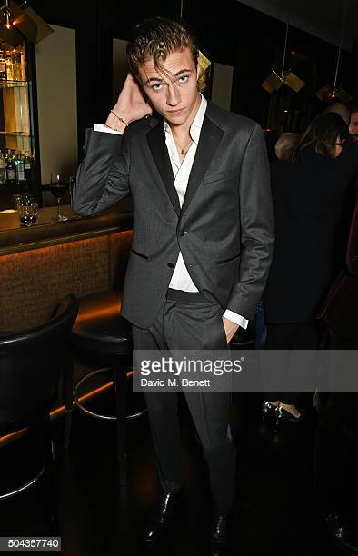 Lucky Blue Smith attends a private dinner hosted by Tommy Hilfiger and Dylan Jones to celebrate London Collections Men AW16 at Morton's on January 10...
