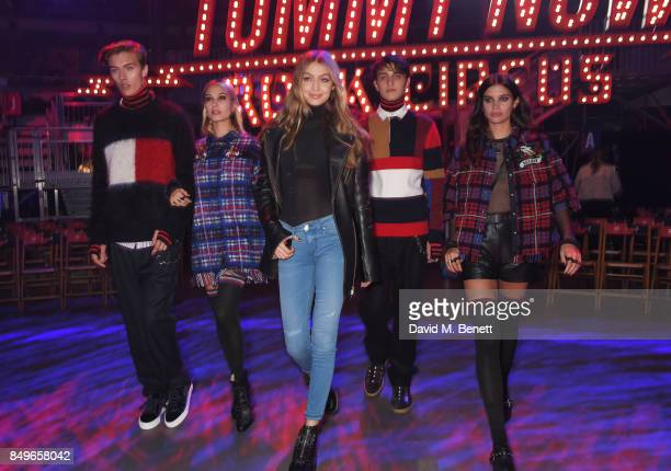Lucky Blue Smith Hailey Baldwin Gigi Hadid Anwar Hadid and Sara Sampaio attend the Tommy Hilfiger TOMMYNOW Fall 2017 Show during London Fashion Week...