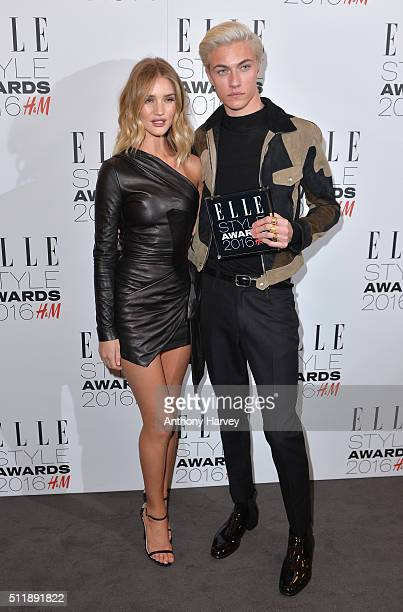 Lucky Blue Smith poses with his award for Male Model of The Year with Rosie HuntingtonWhiteley in the winners room at The Elle Style Awards 2016 on...