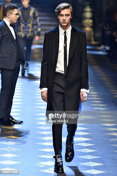 Lucky Blue Smith walks the runway at the Dolce Gabbana show during Milan Men's Fashion Week Fall/Winter 2017/18 on January 14 2017 in Milan Italy