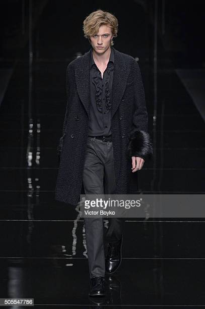 Lucky Blue Smith walks the runway at the Ermanno Scervino show during Milan Men's Fashion Week Fall/Winter 2016/17 on January 18 2016 in Milan Italy