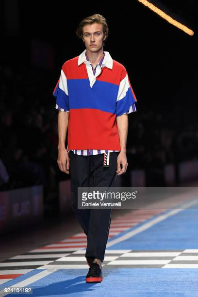Lucky Blue Smith walks the runway at the Tommy Hilfiger show during Milan Fashion Week Fall/Winter 2018/19 on February 25 2018 in Milan Italy