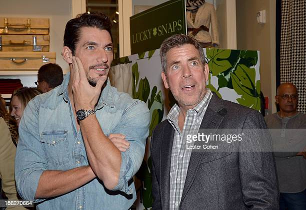 Lucky Brand Model David Gandy and Lucky Brand EVP/Creative Director Patrick Wade attend the Lucky Brand Beverly Hills store opening on October 29...