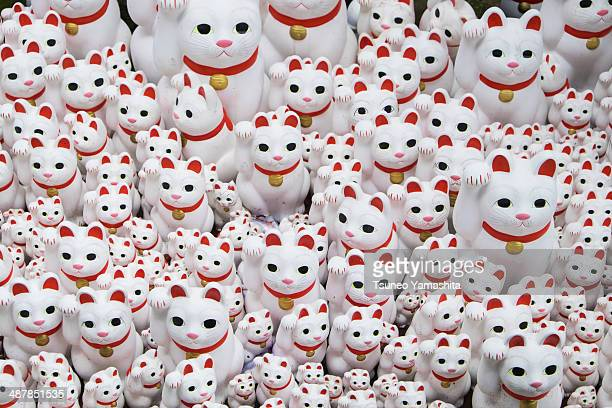 lucky cat figurines - maneki neko stock photos and pictures