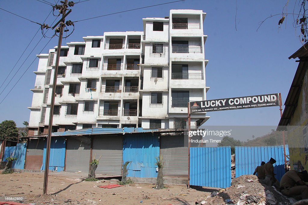 Lucky compound where the ill fated 7-storey illegal structure that caved in here claiming 72 lives was situated on on April 6, 2013 in Thane, India. Rescue operations were called off after 62 people were pulled out of the debris. Thane Municipal corporation pulled down the other two buildings in the compound.