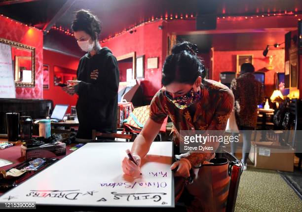 Lucky Devil dancer manager Staci makes a list of dancers and drivers before they head out for deliveries on March 27 2020 in Portland Oregon The...