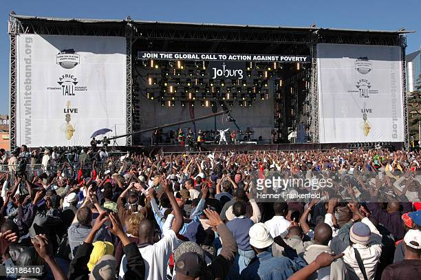 Lucky Dube performs on stage during Live 8 Johannesburg at Mary Fitzgerald Square Newton on July 2 2005 in Johannesburg South Africa The free concert...